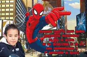 Convite digital personalizado Homem Aranha com foto 011