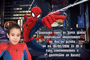Convite digital personalizado Homem Aranha com foto 012