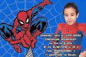 Convite digital personalizado Homem Aranha com foto 013
