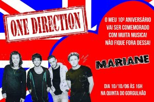 Convite digital personalizado One Direction 001