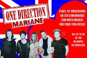 Convite digital personalizado One Direction com foto 001