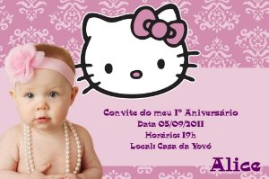 Convite digital personalizado Hello Kitty com foto 007