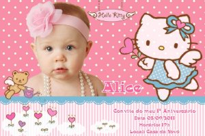 Convite digital personalizado Hello Kitty com foto 012
