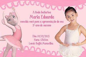Convite digital personalizado Angelina Bailarina com foto 001