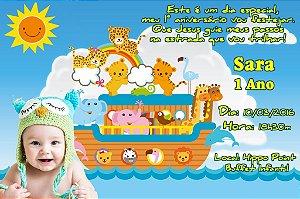 Convite digital personalizado Arca de Noé com foto 001