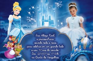Convite digital personalizado Cinderela com foto 012