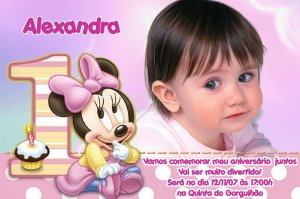 Convite digital personalizado Baby Disney com foto 024