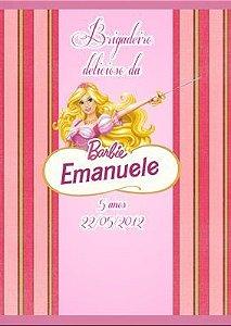 Arte para adesivo de bisnaguinha de brigadeiro Barbie Mosqueteira