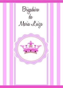 Arte para adesivo de bisnaguinha de brigadeiro Chá de Fraldas