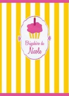 Arte para adesivo de bisnaguinha de brigadeiro Cupcakes
