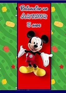 Arte para adesivo de bisnaguinha de brigadeiro Mickey Mouse