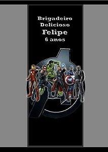 Arte para adesivo de bisnaguinha de brigadeiro Vingadores