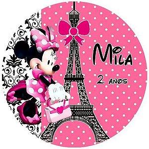 Arte para adesivo de copinho de brigadeiro Minnie em Paris
