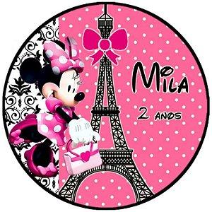 Arte para adesivo de Tubete Minnie em Paris