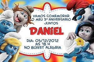 Convite digital personalizado dos Smurfs 002