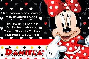 Convite digital personalizado Minnie Vermelha 009