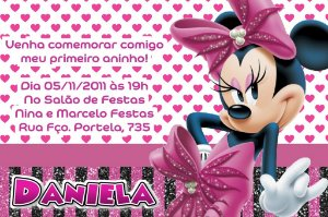 Convite digital personalizado Minnie Rosa 011
