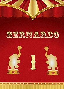 Kit digital personalizado Circo Vermelho e Dourado com 16 peças