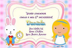Convite digital personalizado Alice no país das maravilhas 009