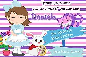 Convite digital personalizado Alice no país das maravilhas 012