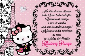 Convite digital personalizado Hello Kitty 014