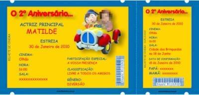 Convite Personalizado Bilhete de cinema