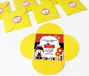 Convite com envelope flor e adesivo