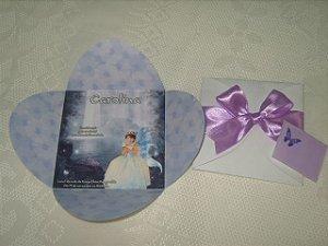 Convite envelope flor com laço e cartão