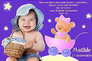 Convite digital personalizado Baby TV 014 com foto