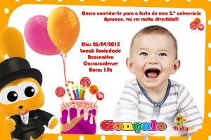 Convite digital personalizado Baby TV 031 com foto