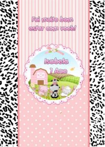 Kit digital personalizado Fazendinha Rosa com 12 peças