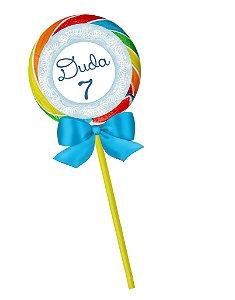 Pirulito colorido com Frozen com nome e idade