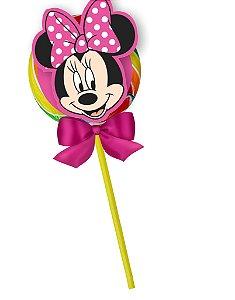 Pirulito colorido Minnie com aplique em relevo