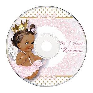 Rótulo adesivo CD/DVD - Anjinha Princesa
