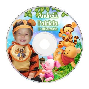 Rótulo adesivo CD/DVD - Baby Pooh