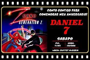 Convite digital personalizado Zorro 001