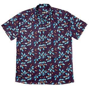 Camisa Estampada Masculina Manga Curta Tricoline Blueberry