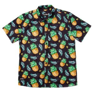 Camisa Estampada Masculina Manga Curta Tricoline Pineapple