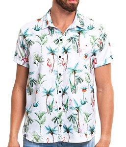 Camisa Estampada Masculina Manga Curta Microfibra Verano