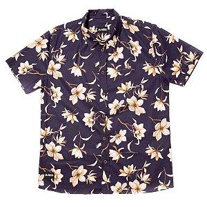 Camisa Estampada Masculina Manga Curta Tricoline Floral Sapphire