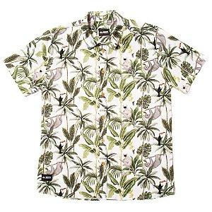 Camisa Estampada Masculina Manga Curta Tricoline Floral Jungle
