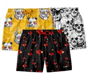 "Kit 3 Shorts ""Os Mais Vendidos"" - Flamenco, Animal e Skullz"