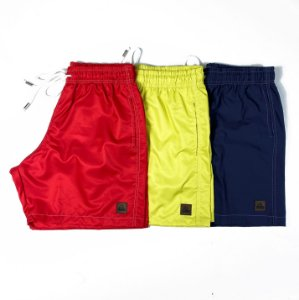 "Kit 3 Shorts Tactel Liso ""Colors"" - Vermelho, Cítrico e Azul Marinho"