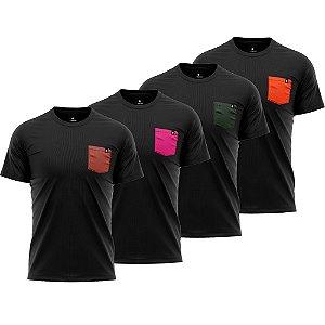 Kit 4 Camisetas Básicas LaVíbora Algodão Premium 30.1 - Bolsos Coloridos