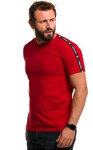 Camiseta Básica Masculina Faixa Lateral 100% Algodão LaVíbora - Vermelho