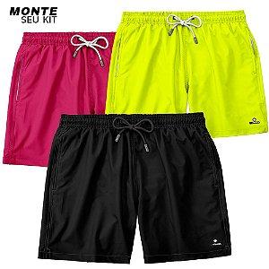 Kit 3 Shorts Praia Masculinos Lisos LaVibora - Escolha as cores