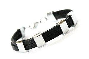Bracelete Couro e Metal