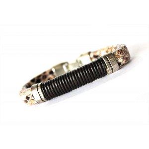Bracele Masculino Cobra Couro