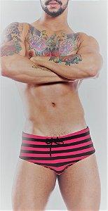 Sunga com Listras - Pink/Preto