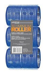 VERTIX Aluminium Roller Bob de Alumínio com Velcro 36mm Azul 3un (3081)
